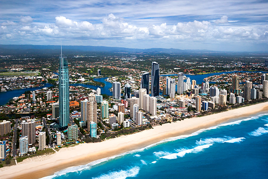 Aerial image of the Gold Coast city